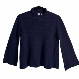 GAP NAVY BLUE KNIT SWEATER WITH BELL SLEEVES AND TURTLENECK SIZE SMALL